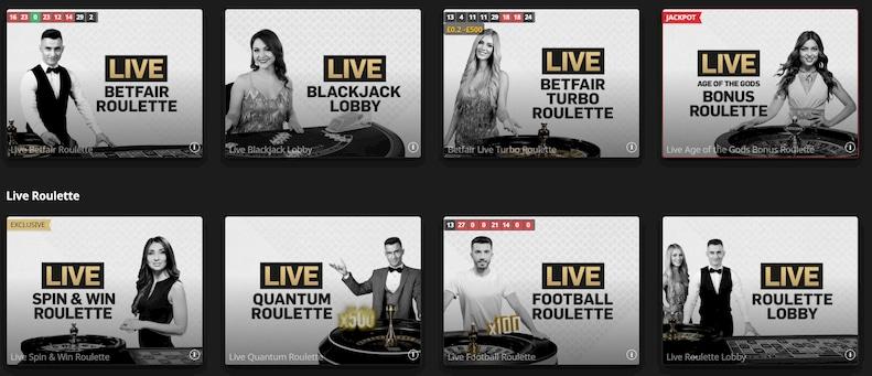 Betfair Live Casino Games