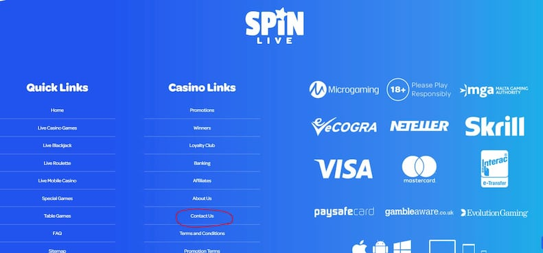 Spin Casino Customer Support